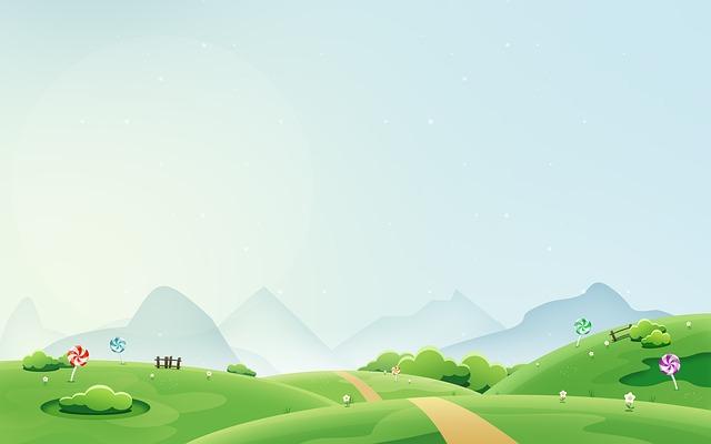 ilustracja przedtawiająca widok na łąkę i góry