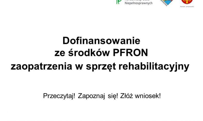 Dofinansowanie ze środków PFRON do zaopatrzenia w sprzęt rehabilitacyjny