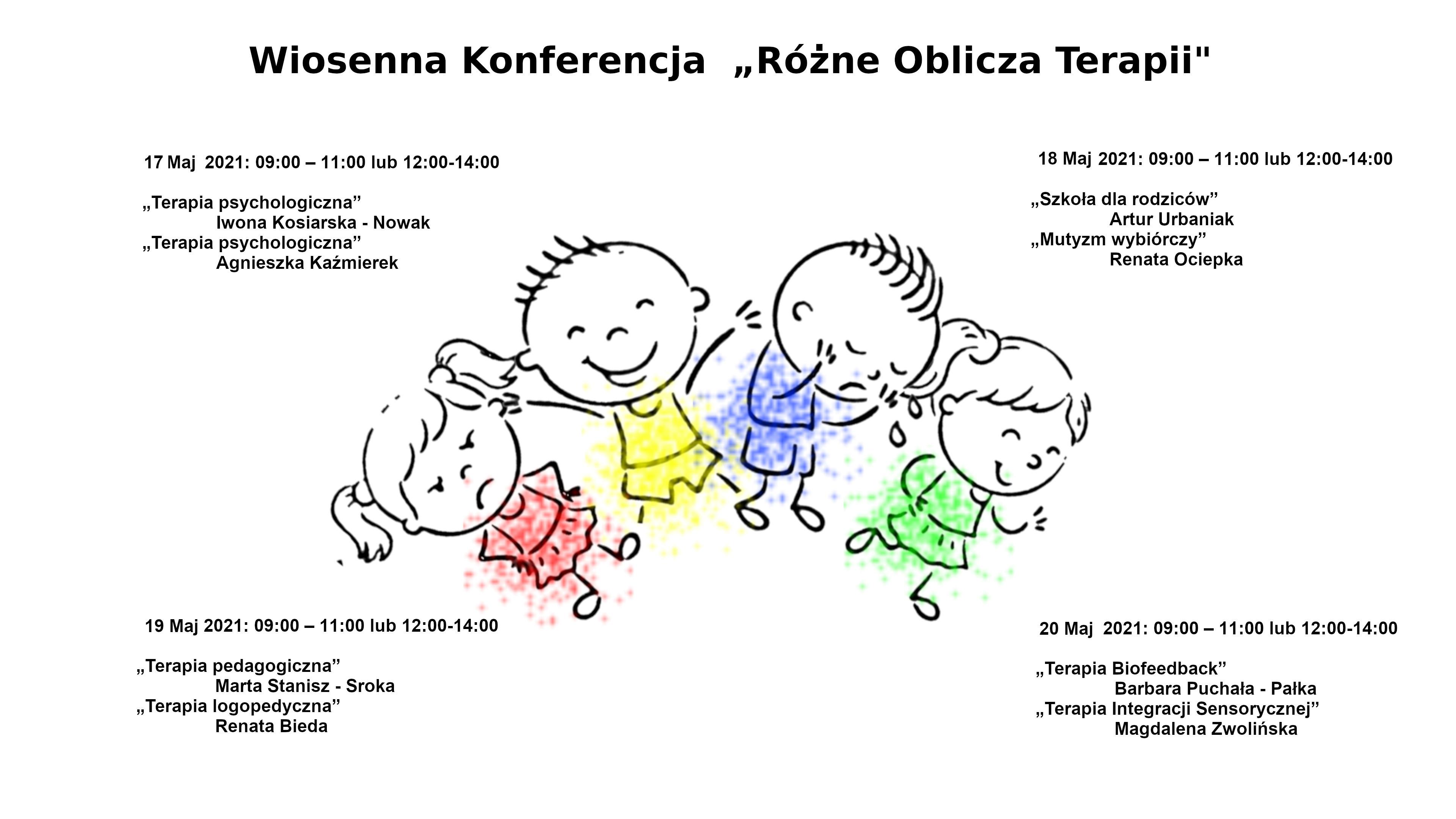 """Poradnia Psychologiczno - Pedagogiczna ZAPRASZA na Konferencję """"Różne Oblicza Terapii"""" w dniach 17-20 Maja 2021 roku"""